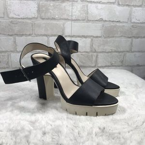 Chunky Color Block Jammer Style Black Heels